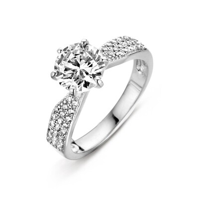 R6392W-54 Rhodium plated set with white cz