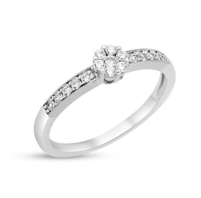 R2170W-56 Rhodium plated ring set with white cz