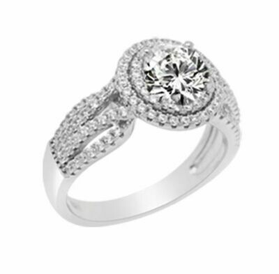 R2169W-54 Rhodium plated ring set with white cz