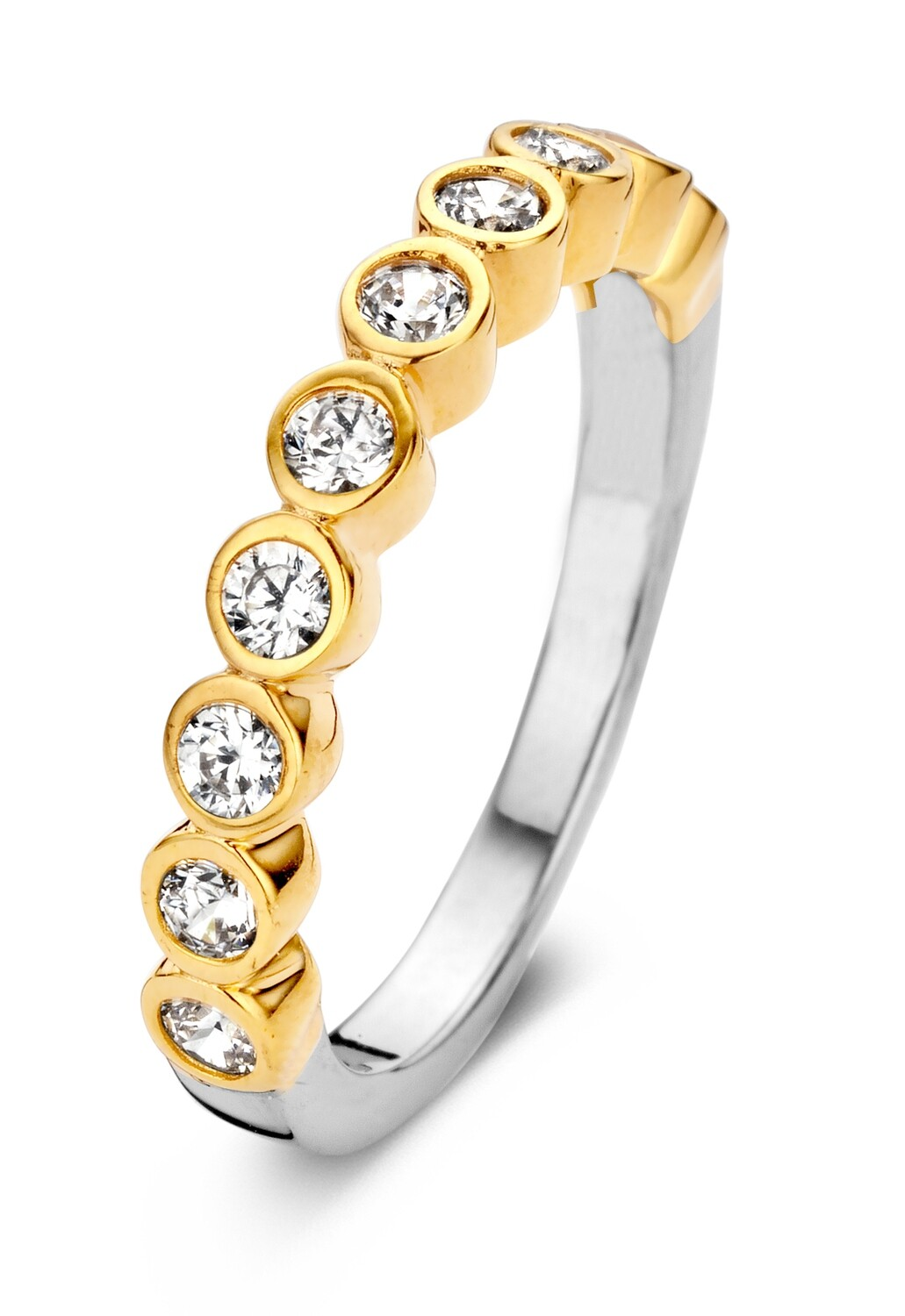 R6251G-54 Gold plated set with white cz