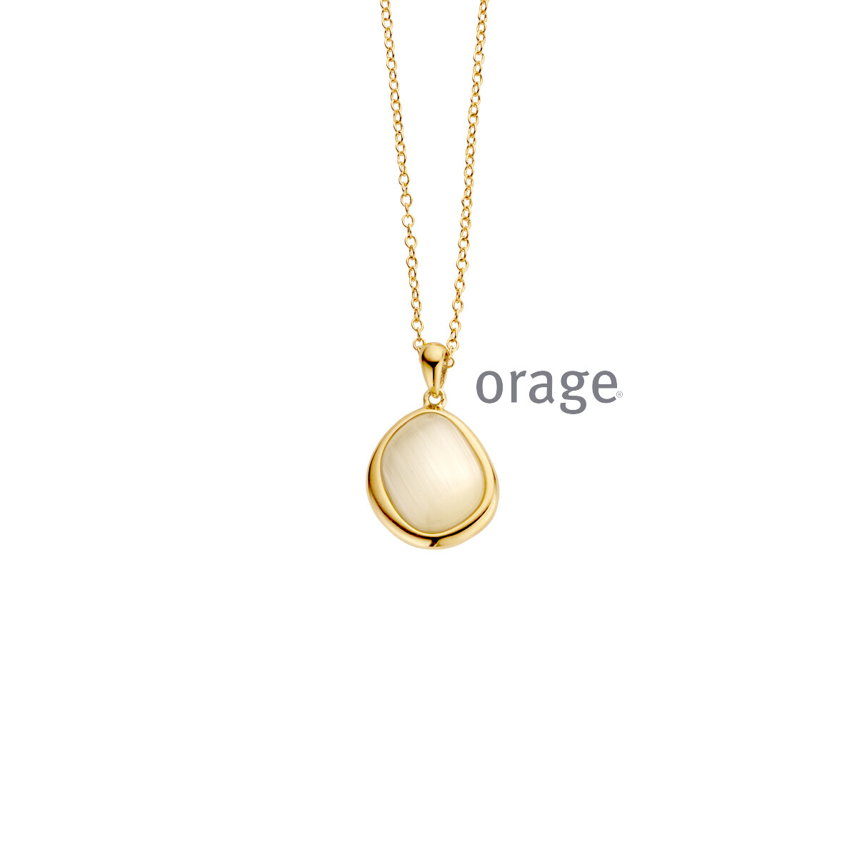 Orage: AR043 Ketting nude yellow cat eye verguld geel goud (V/14)