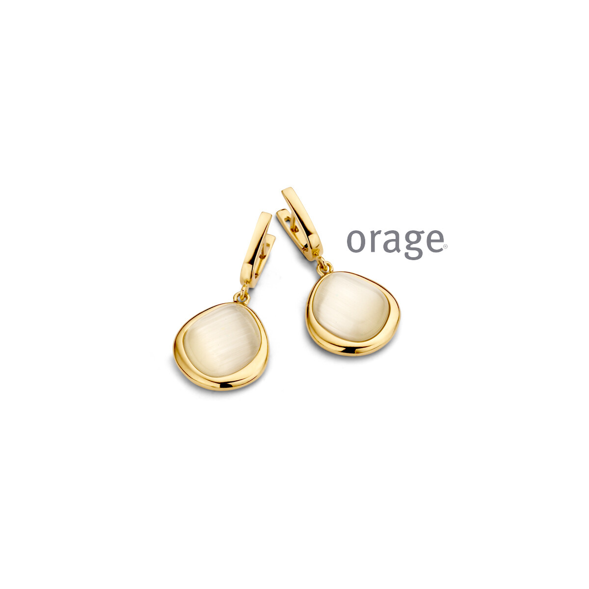 Orage:  AR042 Oorslingers nude yellow cat eye verguld geel goud (V/14)