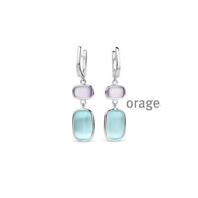 Orage: AR061 Oorslingers violet & tiffany blue cat eye 925 rh (V/14)