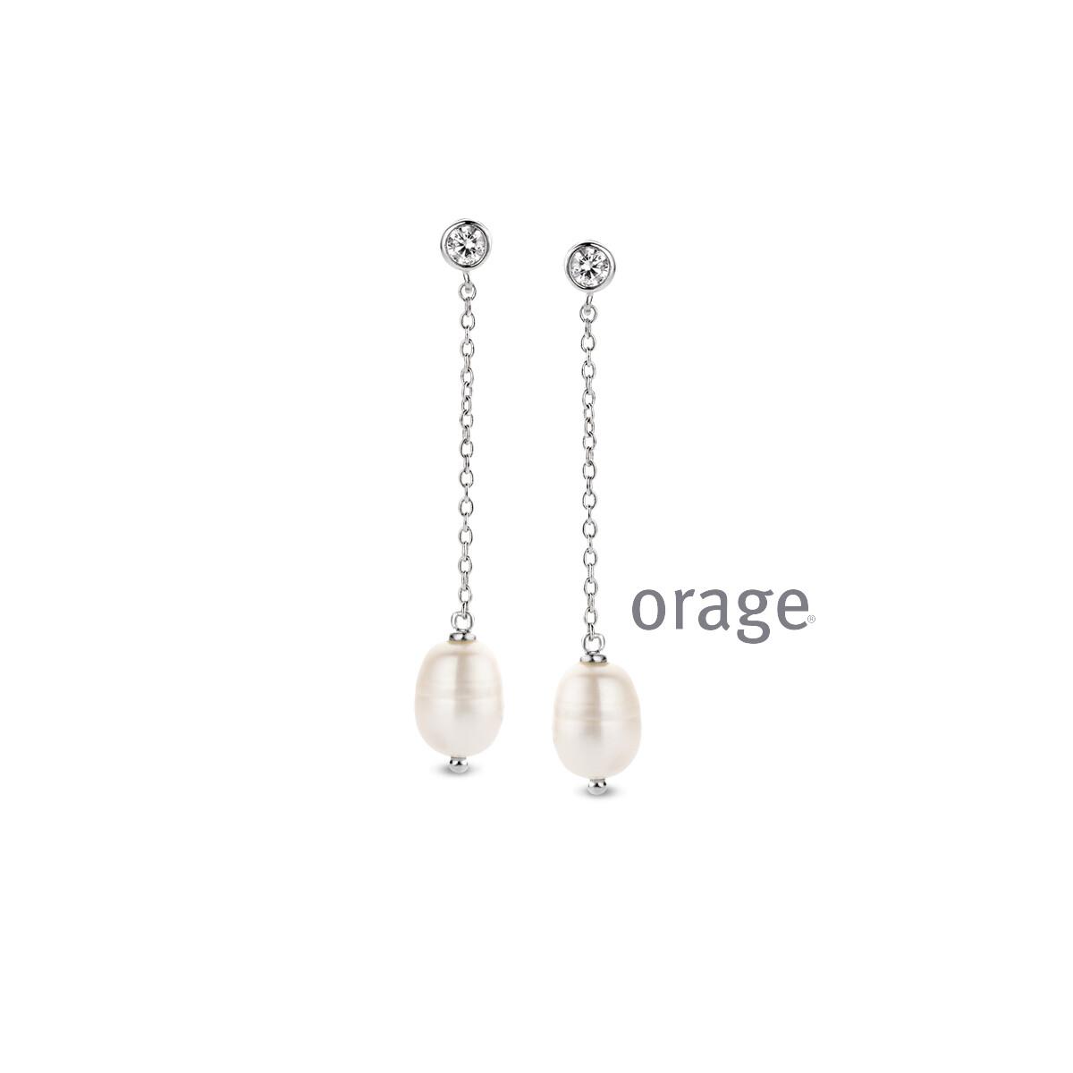 Orage: AR016 Oorslingers parel fwp 925 rh cz (V/14)