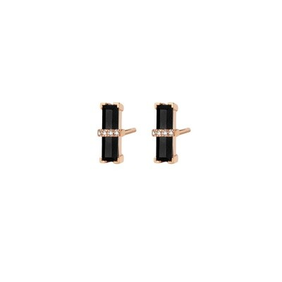 M1440-3S4-P01] Dark Secret Earrings - Yellow - Pin Black Onyx Rectangle: 2pc, White Diamond : 8pc (0.0320cts)