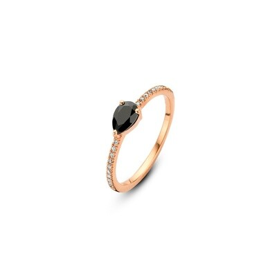 M1445-3S5-S54] Flame Ring - Yellow - 54  Black Onyx Pear: 1pc, White Diamond : 20pc (0.0800cts)
