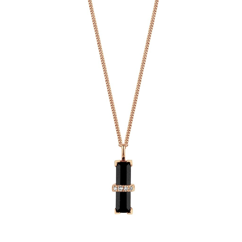 M1441-3S3-S38S40S42] Dark Secret Necklace - Yellow Black Onyx Rectangle: 1pc, White Diamond : 4pc (0.0160cts)
