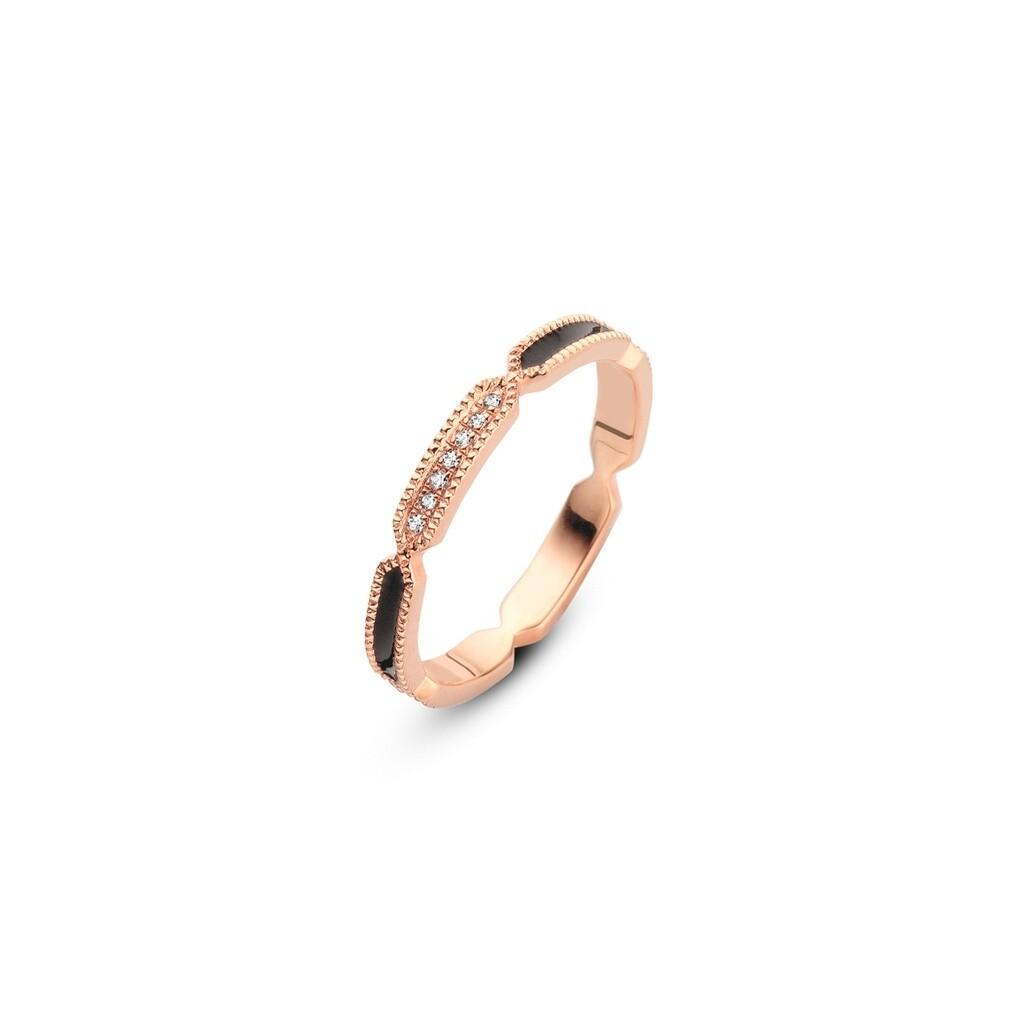 [M1435-3S5-S54] Black Vibration Ring - Yellow - 54 White Diamond : 7pc (0.0280cts)