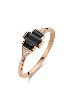 Secret Twilight Ring - White - 52 Black Onyx Rectangle: 1pc, Black Onyx Rectangle: 2pc, White Diamond : 6pc (0.0240cts)