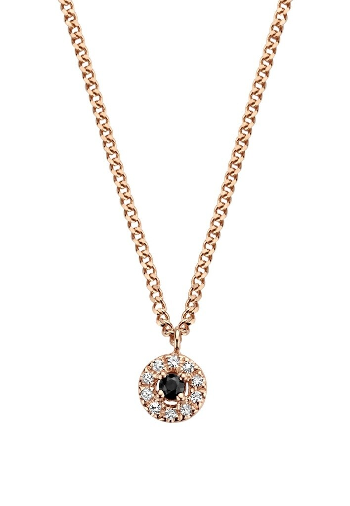 [M1849-1S3-S38S40S42] Black Halo Necklace - White Black Onyx Round: 1pc, White Diamond : 10pc (0.0400cts)