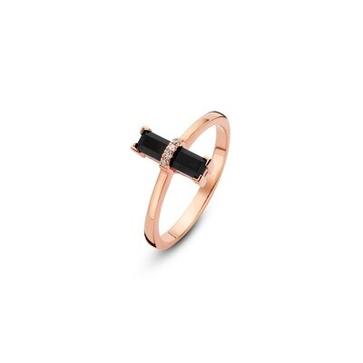 [M1442-3S5-S54] Dark Secret Ring - Yellow - 54 Black Onyx Rectangle: 1pc, White Diamond : 4pc (0.0160cts)