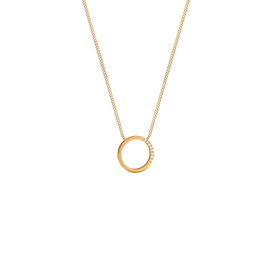 [M342-1S3-S38S40S42] Small Circle of Life Necklace - White White Diamond : 8pc (0.0320cts)