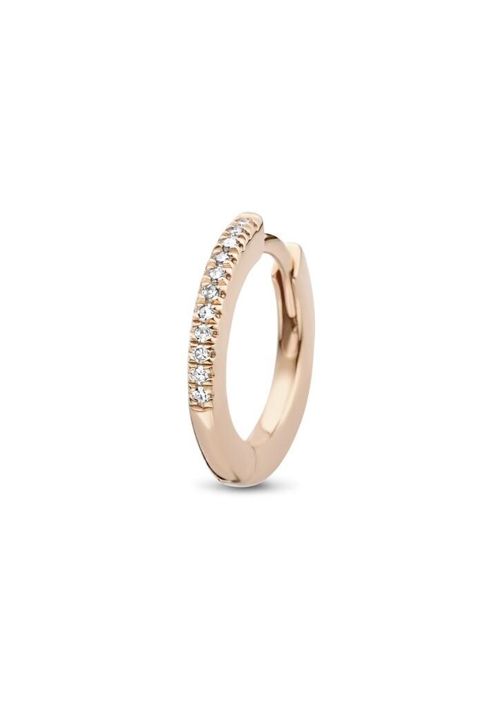 [M1468-2S4-P01] Endless Hugging Hoop (Single) - Pink - Pin White Diamond : 11pc (0.0440cts)