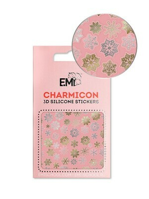 Charmicon 3D Silicone Stickers #151 Snowflakes Gold/Silver