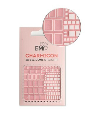 Charmicon 3D Silicone Stickers #161 Squares White