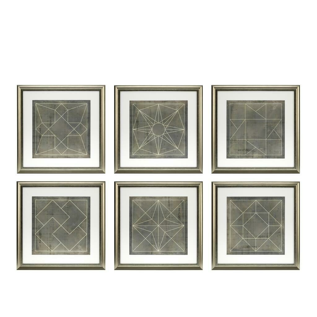 "Картина (принт) ""Eichholtz"" Geometric Bluepri (набор из 6 штук)"