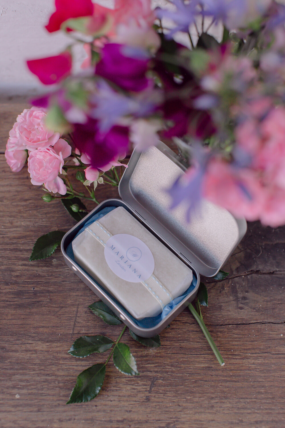 Rose Geranium and Bergamot Travel Soap Tin