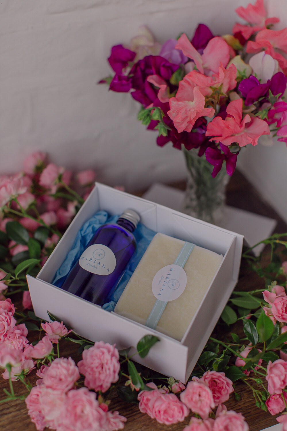 Lavender and May Chang Bath Oil and 110g Soap in a White Magnetic Gift Box