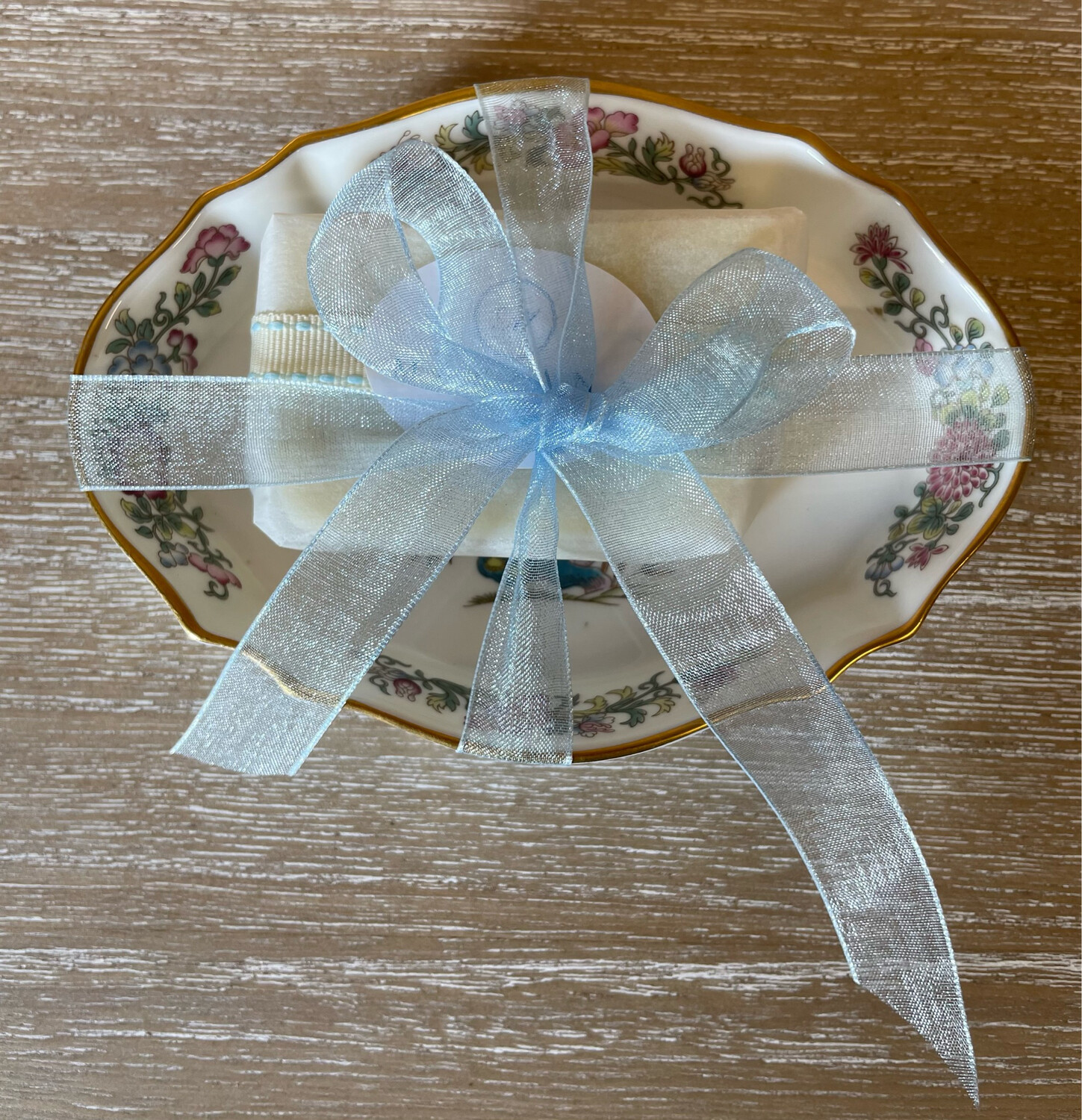 Vintage English Bone China Soap Dish and Guest Soap