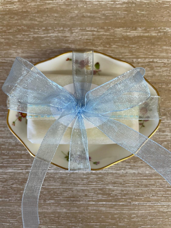 Vintage English Bone China Soap Dish and Guest Soap