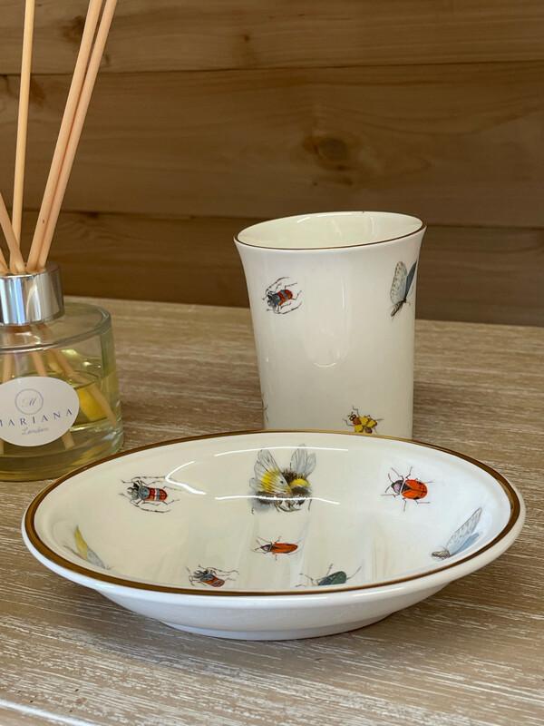 Vintage China Oval Soap Dish and Tooth Mug