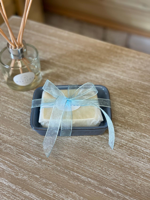 Blue Ceramic Soap Dish and Bath Soap (110g)