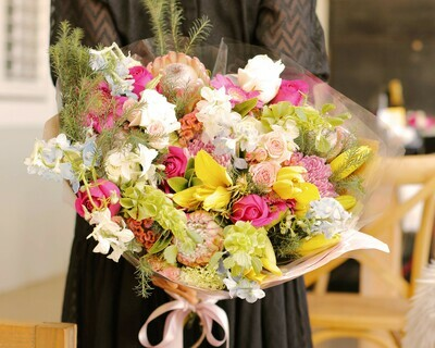 Seasonal Flowers Wrapped Bouquets