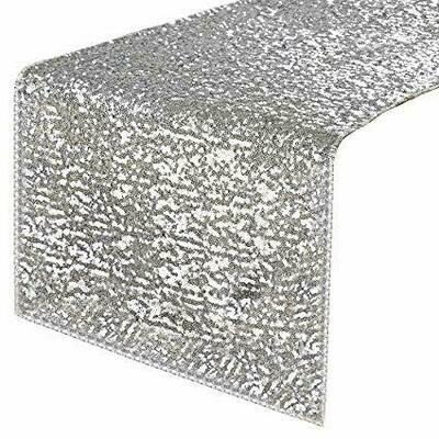 Silver Premium Sequin Table Runner