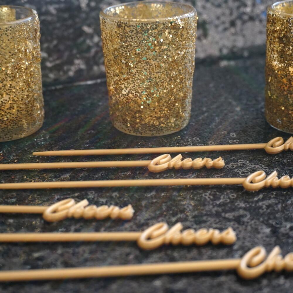 Gold Glitter Votive Candle Holder Set of 12 & Candles