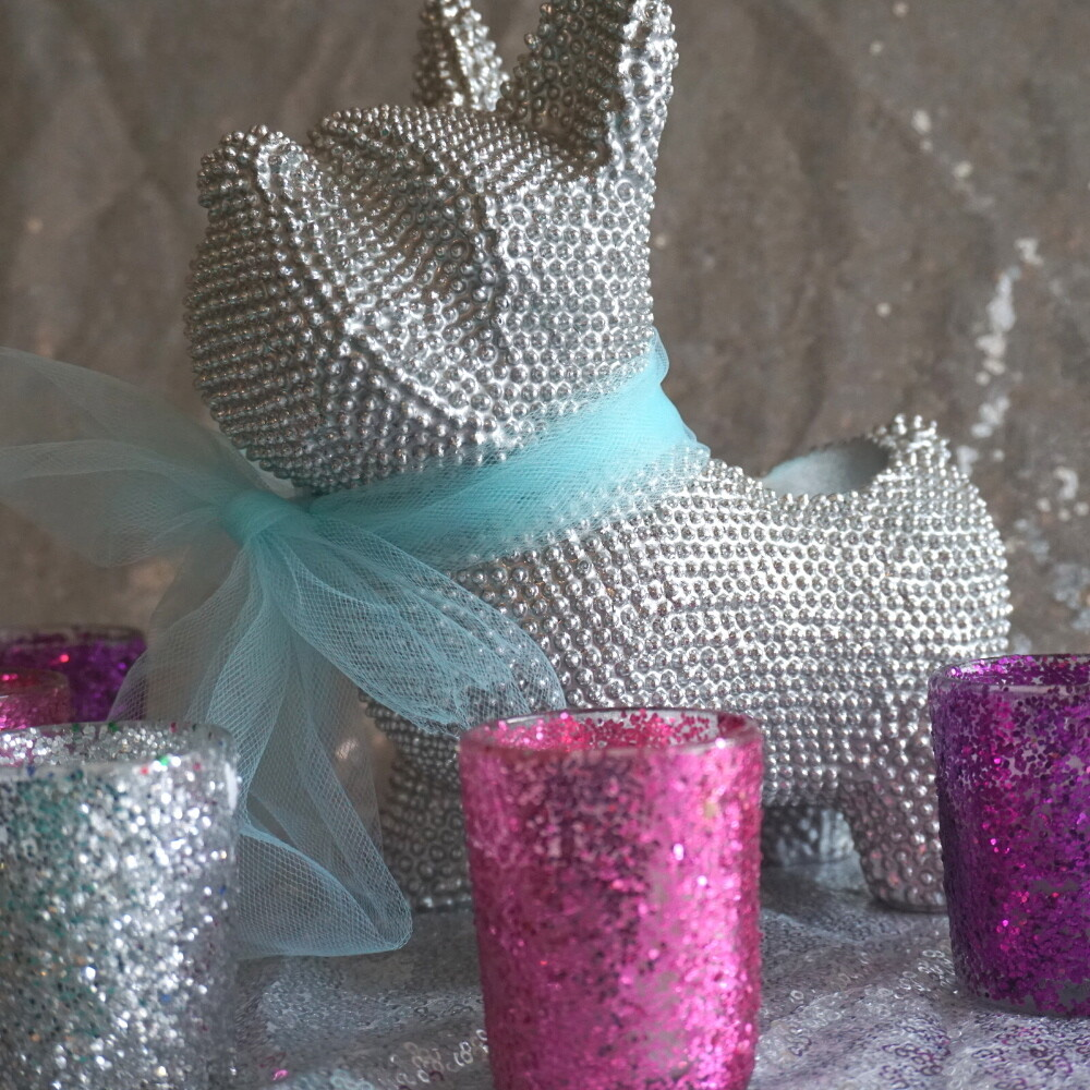 Glitter Votive Candle Holder Set of 12 & Candles (Silver, Pink & Purple)