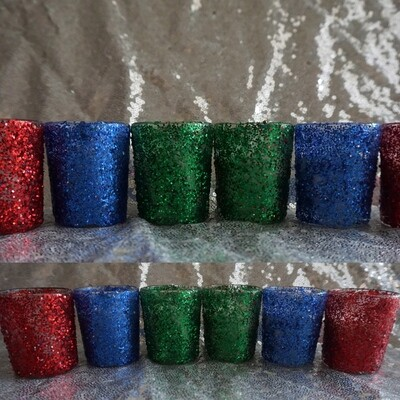 Glitter Votive Candle Holder Set of 12 & Candles (Red, Green & Blue)