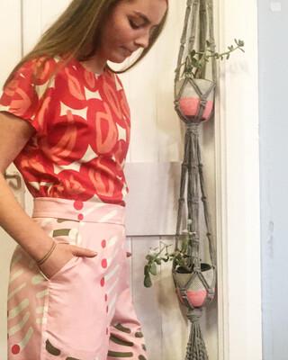 Ginger Pant Pink Bottlebrush - Last Pair Size 10