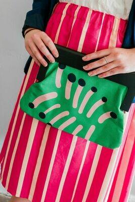 Wooden Handle Clutch Bag
