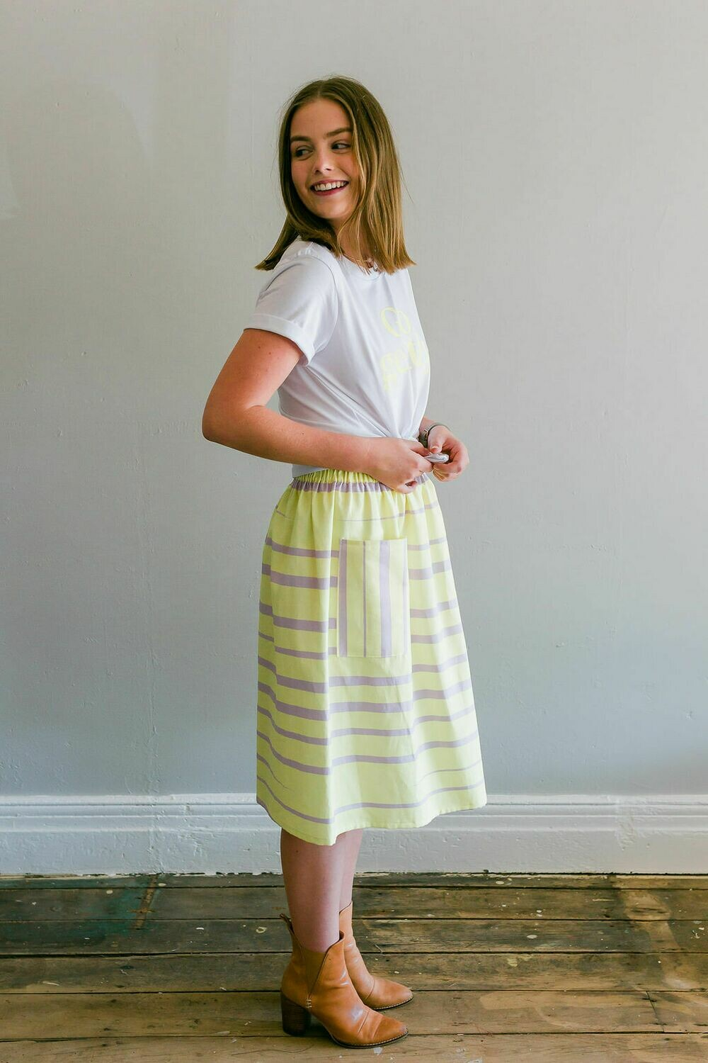 The Stripe Posy Skirt