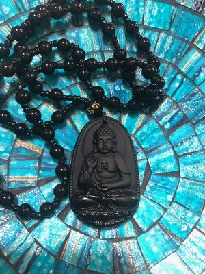 Obsidian Buddha Pendent