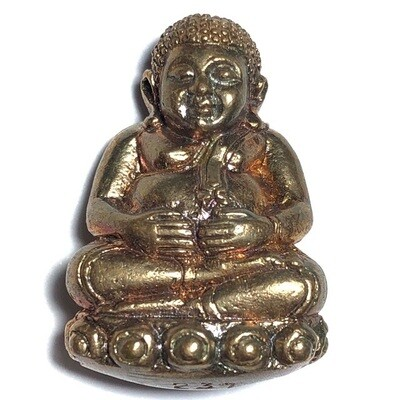 Pra Sangkajjai Wealthy Buddha - Nuea Sadtangk Daeng  - Run Gathin Jao Sua 2554 BE - Por Tan Prohm - Wat Palanupap 2 x 2.7 Cm - Free Casing + Shipping Included #351
