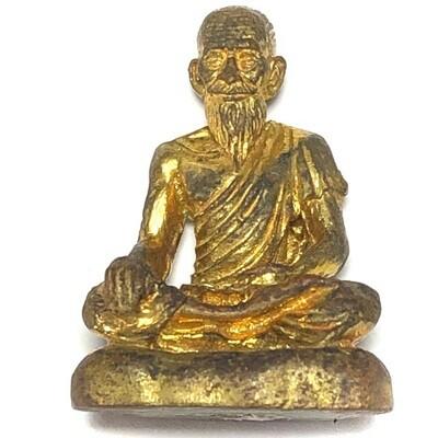 Ruesi Boroma Kroo Chiwok Gomarapaj (Jivaka) Healing Amulet Blessed by Luang Por Jaran (Wat Ampawa) - Nuea Tong Pasom - Hmor Som Hmay Tong Prasert (Doctor Som Hmay)