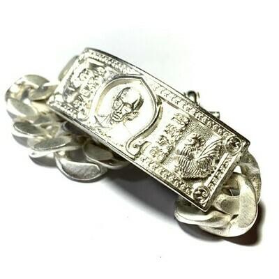 Gamlai Ngern Traimas 2559 BE Ruay Ruay Ruay Edition Large Size 90 Grams Solid Silver Bracelet Luang Por Ruay Wat Tago