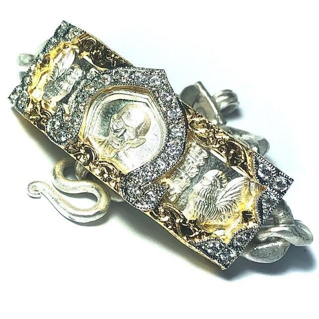 Gamlai Ngern Traimas 2559 BE Ruay Ruay Ruay Edition 60 Grams Solid Silver Custom Frame with Gold Plating & Rhinestones Luang Por Ruay Wat Tago