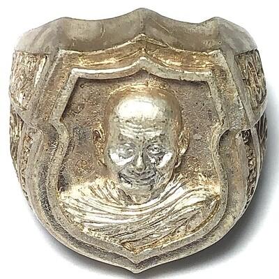 Hwaen Hua Lo Guru Monk Cameo Shield Ring Solid Silver Pre 2549 BE Luang Por Jaran Wat Ampawan