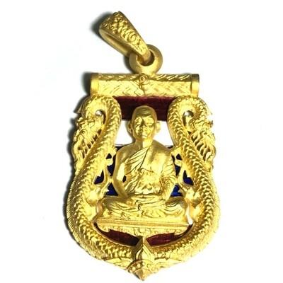 Rian Chalu Yok Chan Sum Paya Nak Nuea Loha Chup Tong Kam Bronze & 24K solid gold plating tricolor enamel Niramit Choke Edition Luang Por Jaran 2554 BE