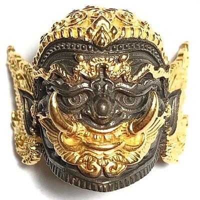 Boroma Kroo Pra Pirab Phu Song Ittirit Bhairaba Khone Mask 2564 BE Black & Gold Plate Wat Sai Ang Tong