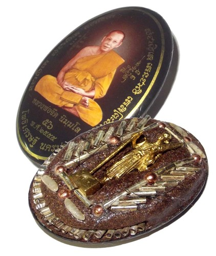 Locket Jumbo 5 x 4 Cm - Mang Mee Sri Sukh (Pim Roop Khai Dtem Ongk) - 56 Takrut Pra Puttakun Spell Inserts + Pra Sivali - 2555 BE Masterpiece Amulet - Luang Por Jerd Nimmalo