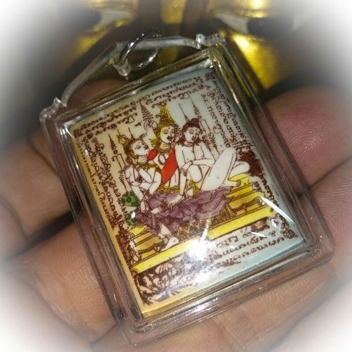 Taewada Hlong Hong Ongk Kroo Pim Yai  Bantian Mian Jia 2556 Edition - 2 Pearls, Paetch Payatorn, 14 Gems, 7 Takrut (5 silver, 2 python) - Luang Phu In