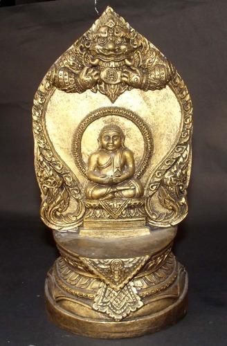 Pra Sangkajjayana Buddha with Pra Rahu, Nagas and Pra Sivali Arahant on rear face - 9 Inch high x 5 Inches wide Bucha - Luang Por Tong Parn - Wat Pha Na Ngua