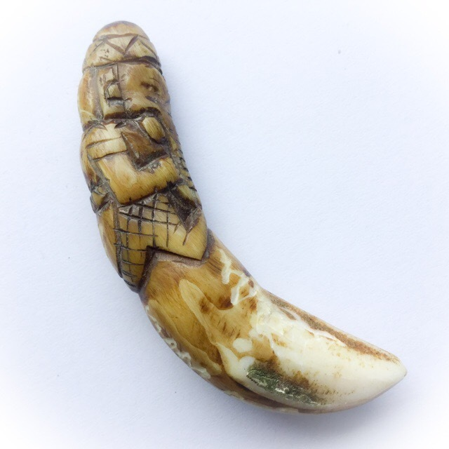 Khiaw Oot Pra Pikanes - Carved Tooth with Ganesha, Hand Spell Inscription for Plentiful Wealth, Success + Removal of Obstacles - Very few Made - Luang Phu Khai
