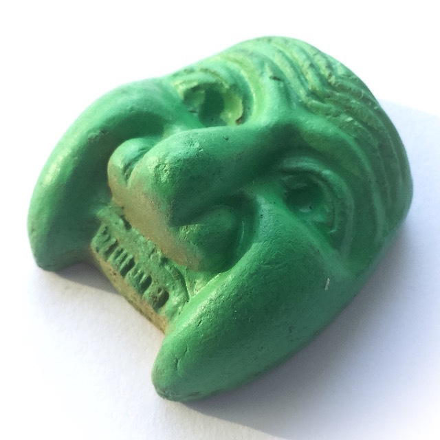 Hnaa Gaag Pran Bun Manorah (Green) - Nuea Din Phao - Sacred Baked Earthen Clay Powders Only 200 Made - Luang Por Prohm Wat Ban Suan 2558 BE
