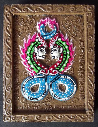 Taep Paya Nak Giaw Hlang Pra Pikanes 'Ongk Kroo' (Master Piece) Nagas with Ganesha - Hand Painted Sacred Powder Jumbo Size Amulet -  Luang Por Chor - Wat Hnong Saeng 'Wai Kroo Edition' 2555 BE