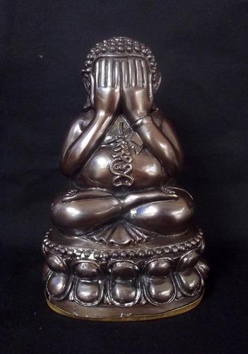 Pra Pid Ta Bucha Statue 5.8 x 3.5 Inches - Nuea Samrit 'Phiw Rom Dam Man Pu' Gon Tong Tip ud Kring 'Run Maha Lap Maha Sethee 2555 BE - Luang Phu Kambu - Wat Gut Chompoo