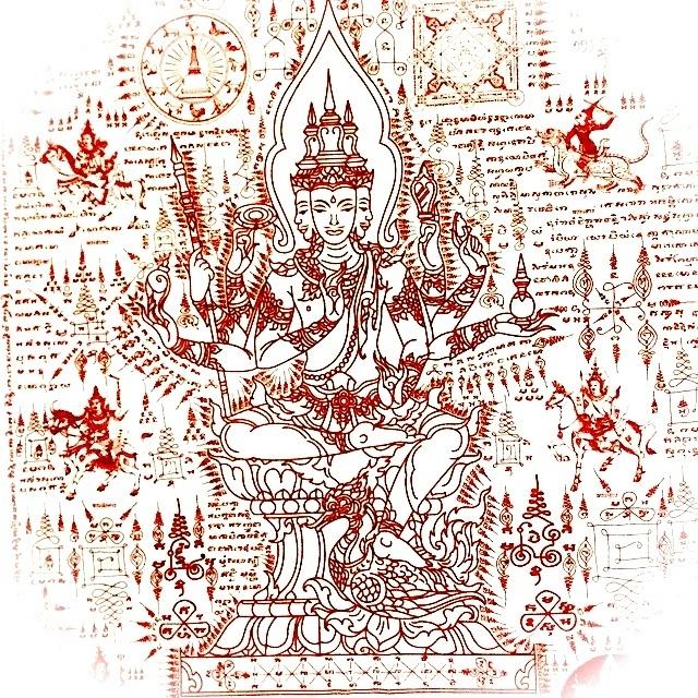 Pha Yant Taw Maha Prohm Pratan Porn Giant Size Brahma Blessings Yantra Cloth 44 x 30 Inches - Pra Ajarn Waen Wat Pha Pracha Samakee Dhamma